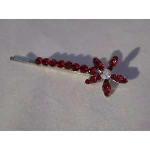 Ruby Red Crystal Flower Hair Pin