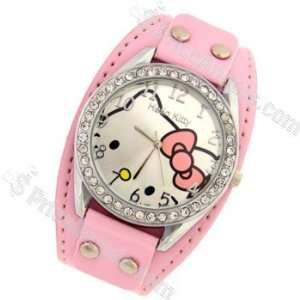 Cute Hello Kitty Pattern Leather Strap Wrist Watch with