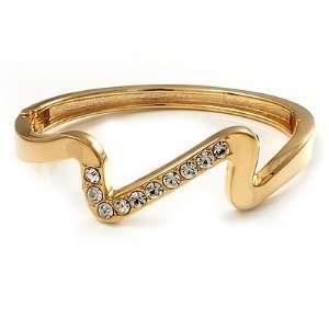 Gold Plated Crystal Zig Zag Hinged Bangle Bracelet Jewelry