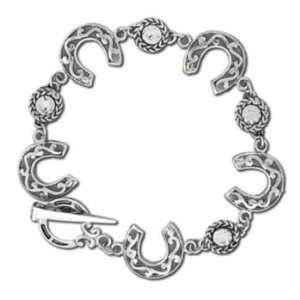 Horseshoe and Rhinestones Charm Bracelet Clear