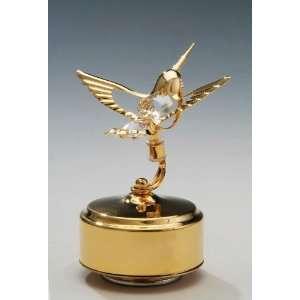 Hummingbird 24K Gold Swarovski Crystal Music Box Figure