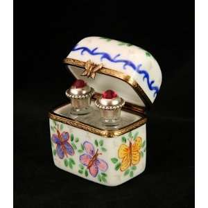Chest with Jeweled Perfume Boxes French Limoges Box