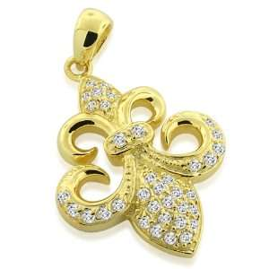 Inspired Sterling Silver CZ Gold Plated Fleur de Lis Pendant Jewelry