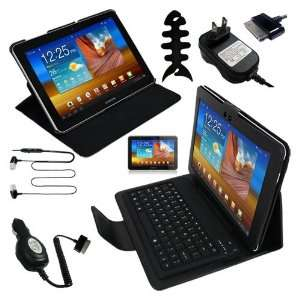 Clear Screen Protector + Black Leather Case With Bluetooth Keyboard