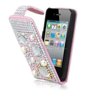 CLEAR HEARTS LEATHER BLING FLIP CASE COVER FOR IPHONE 4 Electronics