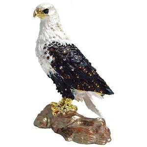 Large American Bald Eagle Bejeweled Trinket Box