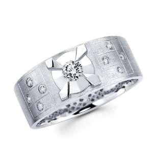 Mens Round Diamond Wedding Band 14k White Gold Ring (1/3 Carat), Size