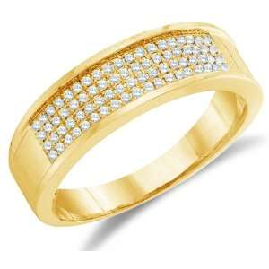 Size 4   10K Yellow Gold Diamond Four Rows MENS Wedding Band Ring   w