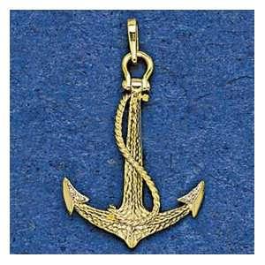 14K Gold Large Pave Anchor Nautical Pendant