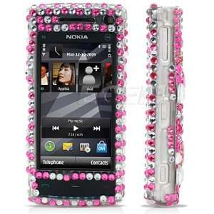 Ecell   PINK HEARTS 3D CRYSTAL BLING CASE FOR NOKIA X6 Electronics