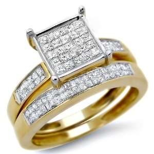 .85ct Princess Cut Diamond Ring Wedding Set 14k Yellow