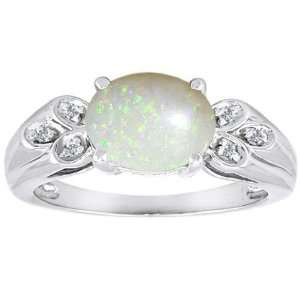 Genuine Oval Opal and Diamond Ring(MetalWhite Gold,Size9) Jewelry