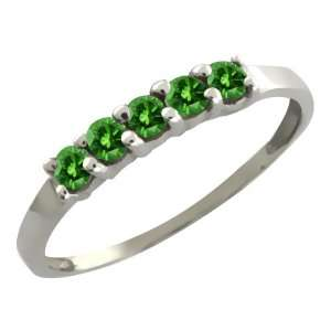0.25 Ct Round Green Diamond 18k White Gold Ring Jewelry
