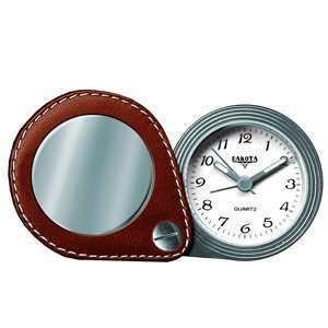 Travel Alarm, White Dial, Chocolate Leather Case  Sports