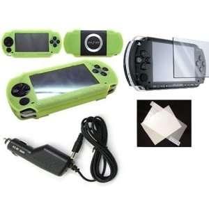 PSP 2000 Deluxe Travel Kit Green Skin 3 in 1 Skin Car/travel Charger