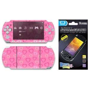 PSP 2000 Slim Skin Decal Sticker plus Screen Protector   Pink Hearts