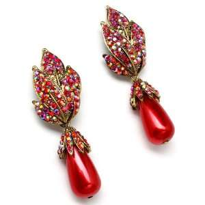Inspired Coral RED Crystal Faux Pearl Drop Leaf Earrings Jewelry