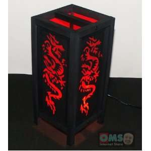 ASIAN ORIENTAL RED DRAGON SAA PAPER TABLE LAMP #L010