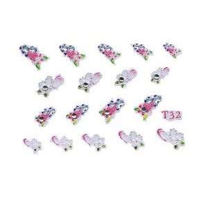 Pink Hearts Rhinestone Nail Stickers/Decals Beauty