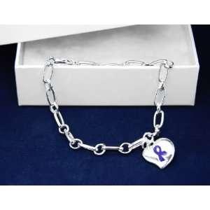 Blue Ribbon Bracelet Silver Linked Puffed Heart Charm (18 Bracelets