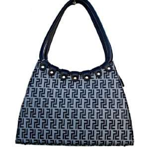 Inspired Small Leatherette Shoulder Handbag Purse in Black/Gray Print