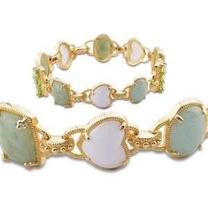 Gold Over Sterling Silver Green Jade and White Agate Bracelet Jewelry