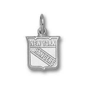 New York Rangers Sterling Silver Shield Logo 3/8 Pendant