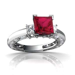 14K White Gold Square Created Ruby Engagement Ring Size 5 Jewelry