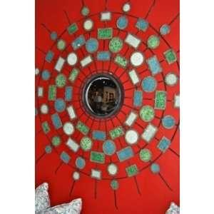 Extra Large TURQUOISE STARBURST Sunburst Mirror