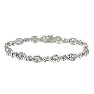 Sterling Silver Multi Stone Double Oval Link Bracelet with