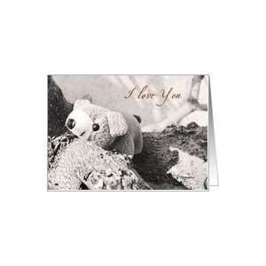I Love You  small teddy bear card Card Health & Personal