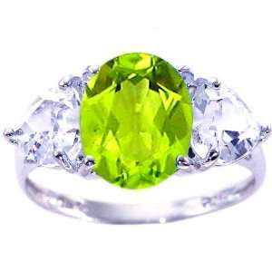 Heart Gemstone Ring Multi Peridot White Topaz, size5 diViene Jewelry