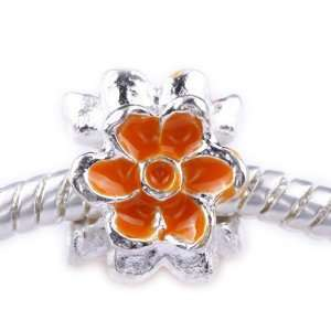 TheIKA x1 Antique Silver Plated Orange FlowerCharm Bead Handmade PB