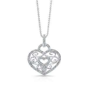 Victoria Kay 14k White Gold Diamond Vintage Heart Pendant (1/4cttw, IJ