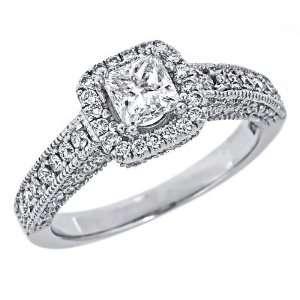 14K White Gold Princess Brilliant Cut Diamond Engagement