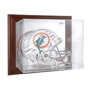 Miami Dolphins Brown Framed Wall Mounted Logo Helmet