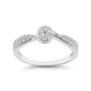 Womens 10k White Gold Engagement Ring (1/8 cttw I J Color
