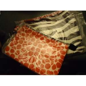 Works Zip Top Cosmetic Pouches Bags   set of 2 zebra stripe & Red Dots