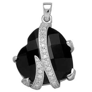 Silver Black & White Cubic Zirconia Love Heart Pendant Jewelry