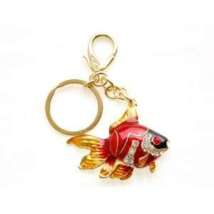 Japanese Fire Orange Ruby Red Crystal Rhinestone Swimming Goldfish