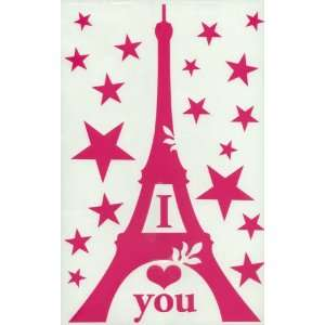 Eiffel Tower I Love You Pink Wall Decal Automotive