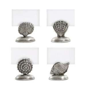 Silver Plated Place Card Holder,Pewter Sea Life   Set of 4
