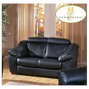 Handsome Looking 100% Black Leather Sofa Loveseat