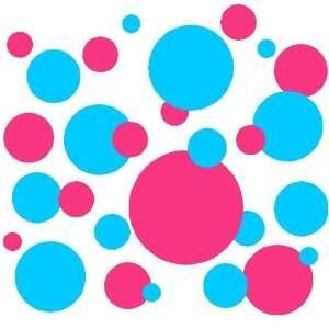 Set of 130 Sky Blue and Dark Pink Polka Dots Circles Wall Decor