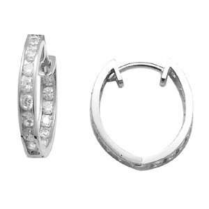 Flowing CZ Thin Band 14K White Gold Huggie Earrings