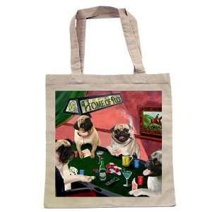 Pug Four Dogs Playing Poker Tote: Home & Kitchen