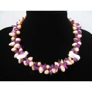 17 Purple Quartz 10mm Pink Freshwater Pearl Necklace