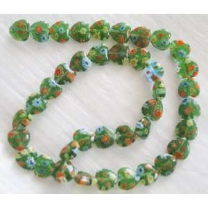 10mm Green Heart Millefiori Glass Beads 14.5 Everything