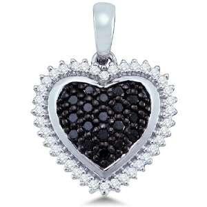 and White Diamond Round Cut Heart Shape Love Puff Pendant (1/3 cttw