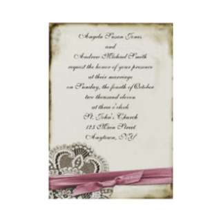 Laura Lace Pink Vintage Response Card Custom Invitation from Zazzle